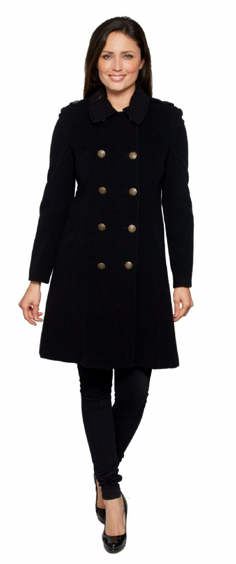 K715C Womens Luxury Cashmere Wool Navy Reefer Coat